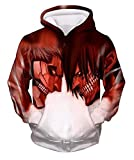 Tunsechy Attack Titan Eren and Armored Titan Reiner - Attack on Titan Hoodie Sweatshirt Cosplay (X-Large)
