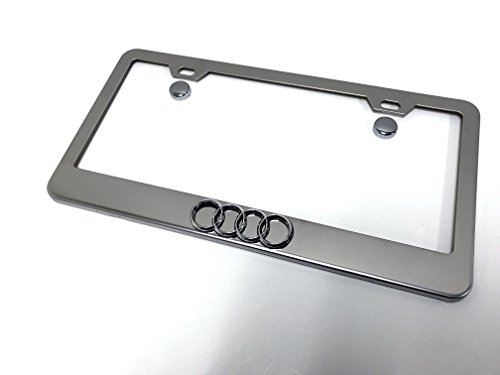 Deepro 1 3D 4 Ring Logo Emblem Stainless Steel Chrome Metal License Plate Frame with Screw Caps Audi