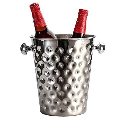 Cubo de hielo, barril de vino de acero inoxidable, cubo de hielo creativo de martillo para fiesta, con asa, para vino Cerveza de champaña 5L, 23.5x20x13.5cm / plata
