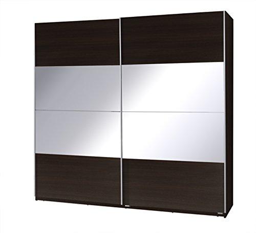 Kleiderschrank mit Spiegel Schrank Garderobe Zweitürenschrank Schwebetürenschrank Schwebetüren 2-Türig Corse II (Wenge)