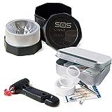 GEMCORE s.o.s. light baliza luminosa V16 + MARTILLO Emergencia: rompeventanas+cortador cinturón + regalo, CAJA KIT PRIMEROS AUXILIOS