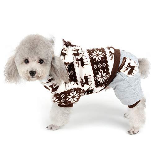 Zunea Traje de Navidad para mascotas con estampado de copos de nieve y...