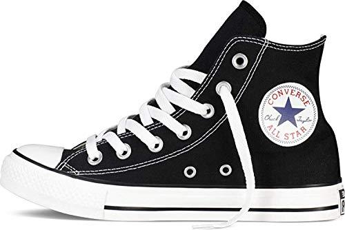 Converse M9160- Chuck Taylor All Star High Top Unisex Black White Sneakers, 10.5 Women/8.5 Men