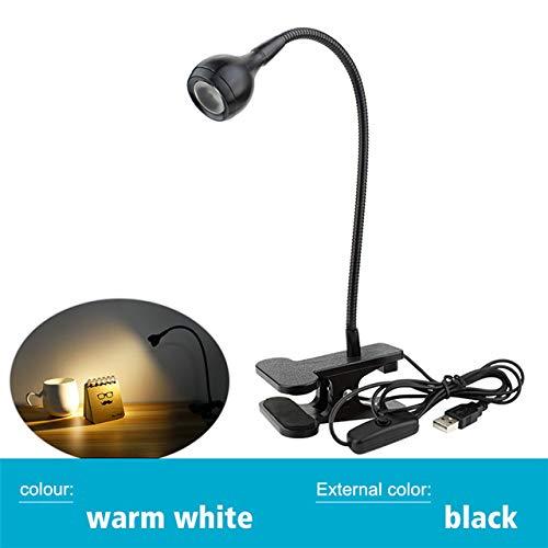 USB-aangedreven tafellamp oogbescherming tafellamp clip oplaadbare LED USB flexibele opvouwbare steun leeslampjes,zwart warm wit