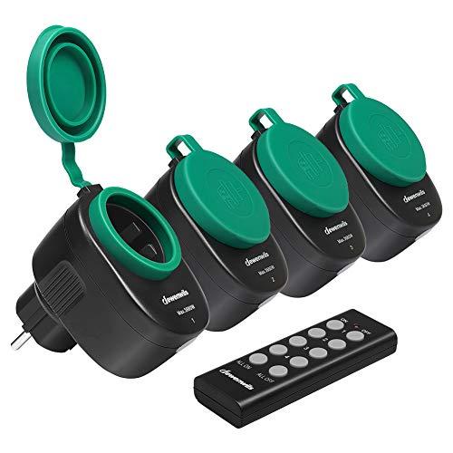DEWENWILS Funksteckdosenset Aussen, Programmierbare Steckdosen mit Fernbedienung, IP44, 4er Funksteckdosen und 1 Fernbedienung für Feiertagsdeko, 3680W, 30 M Reichweite, CE und TÜV zertifiziert