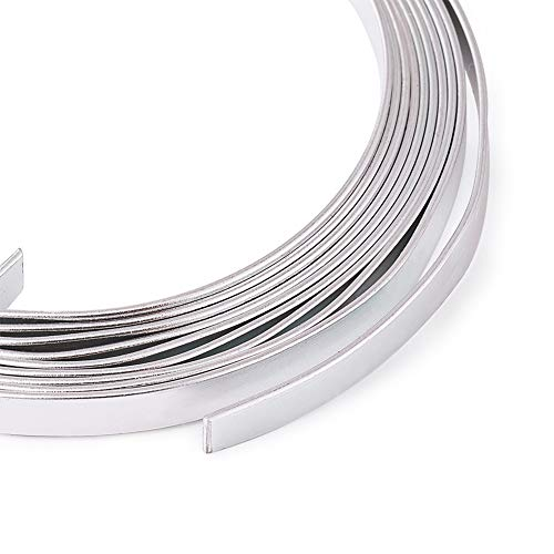 Fashewelry 5mm Aluminum Flat Wire Silver 6.56Ft x 5 Rolls Bendable Metal Craft Wire for Beading for Bezel Sculpting Armature Jewelry Making Gem Metal Wrap Total 32.8 Feet