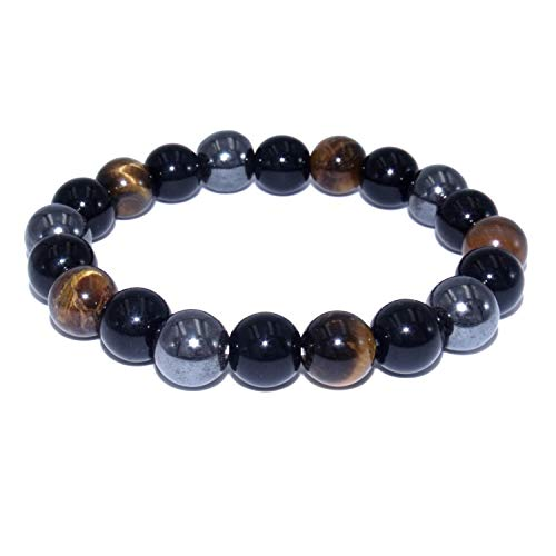Triple protection bracelet with tiger eye obsidian and hematite natural stones, size 7'', beads 0.39''.