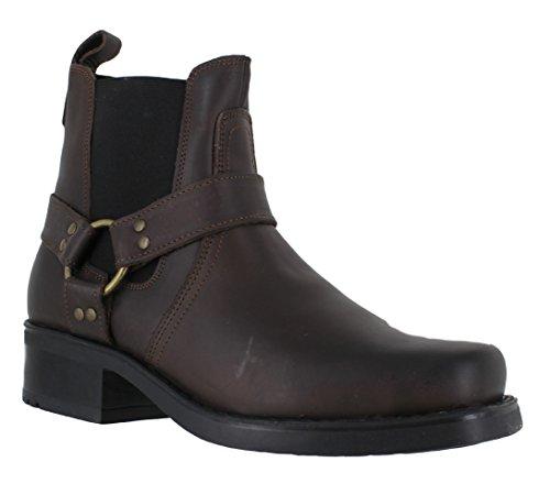 Gringos M486Harley Leder-Stiefeletten für Herren, Biker-/Cowboy-Stil, Braun - braun - Größe:...