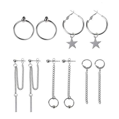 Team99 Korea Jewelry Kpop Hip Hop Punk - Juego de pendientes de cadena de titanio con borla de acero