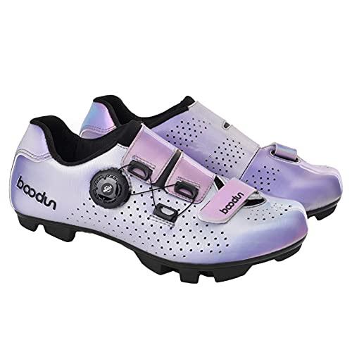 Zapatillas De Ciclismo De Montaña para Mujer Lightweight Camping Bike Sneakers Transpirable Colorido,Púrpura,37 EU