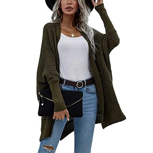 Cárdigan de punto de estilo suelto para mujer, color sólido, manga larga, frente abierto, sudadera con capucha, Ejercito Verde, S