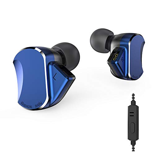BQEYZ BQ3 HiFi Earbuds Metal Housing Sport Headset 3 Balanced Armature 2 Dynamic Drivers Earphone (Blue with mic)