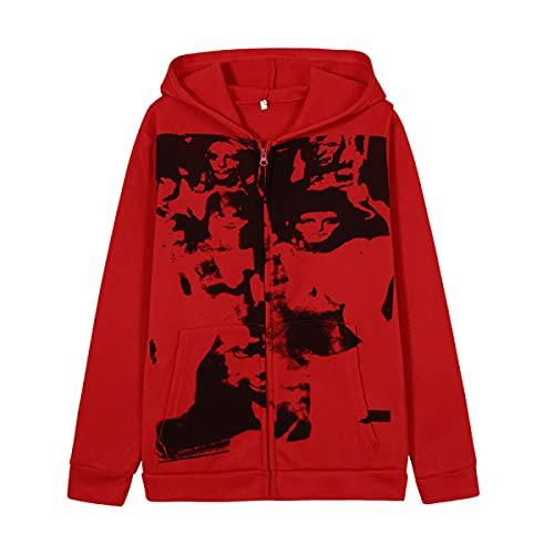 Tekaopuer Y2K - Sudadera con capucha para mujer, diseño vintage y gráfico con cremallera, Z5-rojo, XL