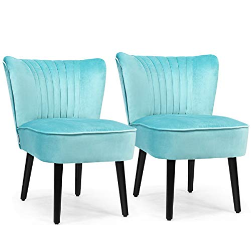 Giantex Set of 2 Velvet Accent Chair, Upholstered Modern Leisure Club Chairs w/Solid Wood Legs, Thick Sponge Seat, Adjustable Foot Pads, Armless Wingback Chairs for Bedroom Living Room (2, Turquoise)