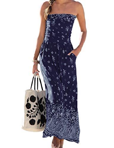 SEBOWEL Damen Maxikleid Sommer Boho Kleider Lang Bandeau Ärmelloses Sommerkleid Strandkleider Elegante Freizeitkleid CocktailKleider Abendkleid (S, Blau)