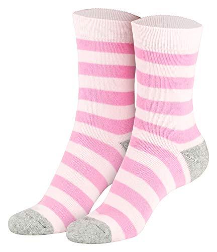 Piarini 2 Paar Kindersocken geringelt bunt Vollfrottee Jungen Mädchen Weiche Kinderstrümpfe Kids Boys Girls Socks rosa pink grau 31 32 33 34