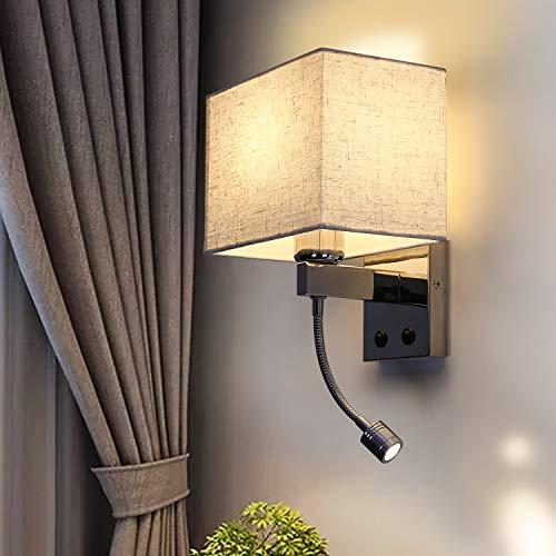 ZMH LED Wandlampe innen schlafzimmer wandleuchte Wohnzimmer Leselampe Bettlampe für Bett Stoff mit flexiblen Schwankbar Lesearm E27 Leselicht für Hotel Flur Treppenhaus