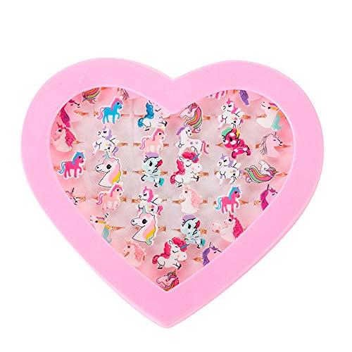 36 Stück Kinderringe Mädchen Ring Kinder Ringe Set, Verstellbar Fingerring, Kinder Einhorn Ring, Prinzessin Schmuck Set, Einstellbare Ringe mit Herzform Vitrine für Kinder Geburtstag Party Favors