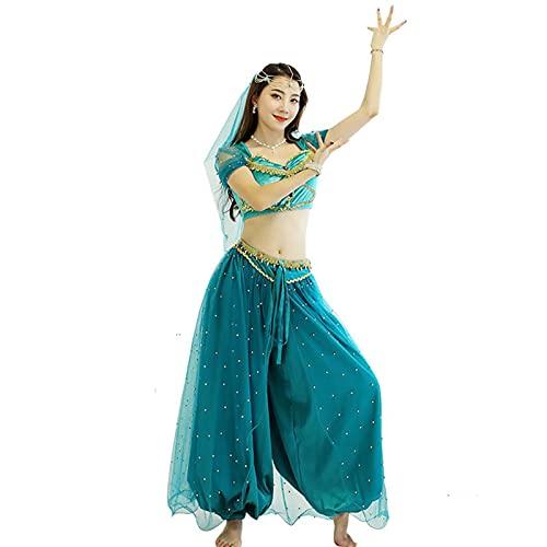 ZYLL Disfraz de Halloween de Danza del Vientre para Mujer, Vestido de Escenario Femenino para Adultos, Velo, Pantalones Superiores, Traje de Danza del Vientre de Bollywood,L