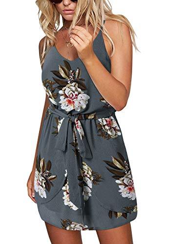 ACHIOOWA Sommerkleid Damen Ärmellos Strandkleid Chiffon V-Ausschnitt Blumen Casual Sexy Mini Trägerkleid Grau S