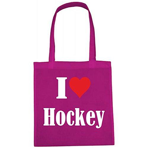 Tasche I Love Hockey Größe 38x42 Farbe Pink Druck Weiss