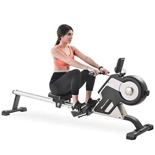 Merax Magnetic Rowing Machine Compact Exercise Rower with Magnetic Tension System, LED Monitor and 8-Level Resistance Adjustment Fitness Equipment for Home Gym