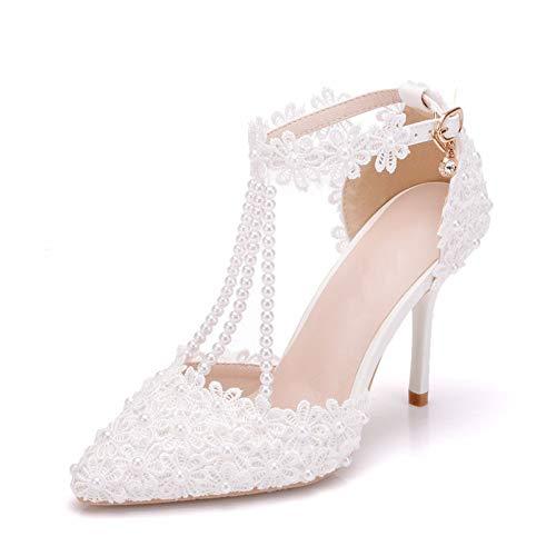 AORISSE Zapatos De Novia para Mujer, 9.5 cm Flor De Encaje Blanco...
