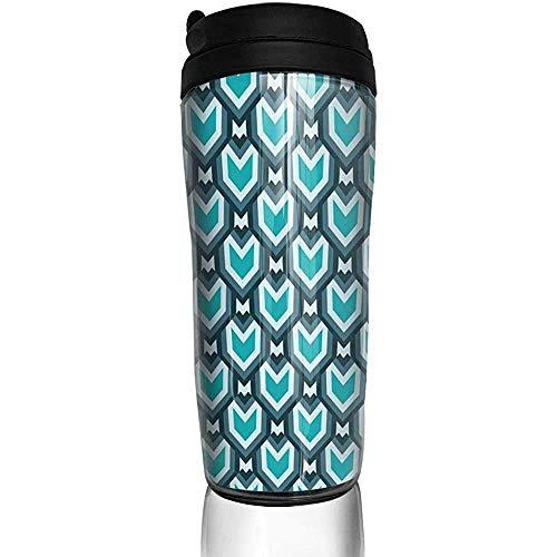 Yuanmeiju Verde azulado cascada arte geométrico moderno botella de agua Trave tazas taza de café vaso reutilizable taza de viaje al aire libre