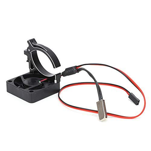 Keenso Disipador de Calor RC para Coche, disipador de Calor de aleación de Aluminio con Sensor térmico, Ventilador a Prueba de Humedad de Alta Velocidad para Coche RC 1/8 1/10(Negro)