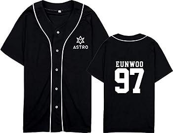 mainlead Kpop Astro Baseball Jersey Short Sleeve Sport T-Shirt Sanha Rocky Moonbin Shirt L Eunwoo Black
