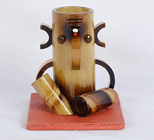 Crafting with Love A Beautiful Handmade Bamboo Wooden Pulido Lápiz / Marcador Soporte de escritorio con diseño de terracota Ganesh para oficina, hogar y estudio Organizador de mesa