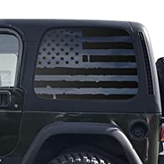 Toyota 4Runner TF23.MA Outdoor Forest Mountain Scene USA Flag Decals in Matte Black for side windows