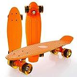 8bayfa Planche à roulettes Cruiser 22' Mini complète Deck Skate, 4 PU Roues en Alliage d'aluminium et Support ABEC-7 Roulement Universel (Color : Orange)