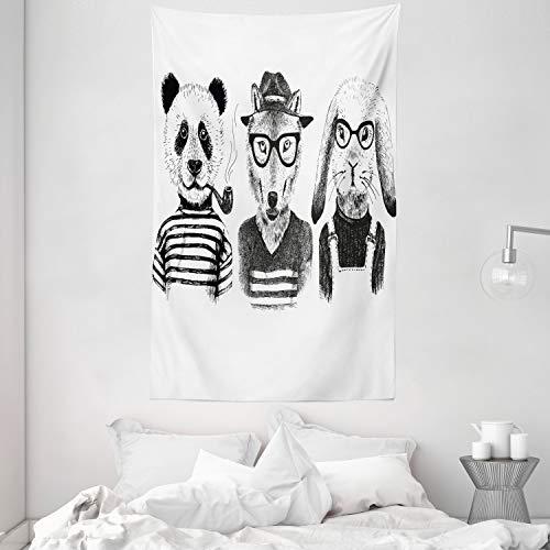 ABAKUHAUS Animal Tapiz de Pared y Cubrecama Suave, Oso Panda Hipster Cigarro Zorro y Conejo Gafas Vestimenta de Humano Ilustración, No se Desliza de la Cama, 140 x 230 cm, Blanco