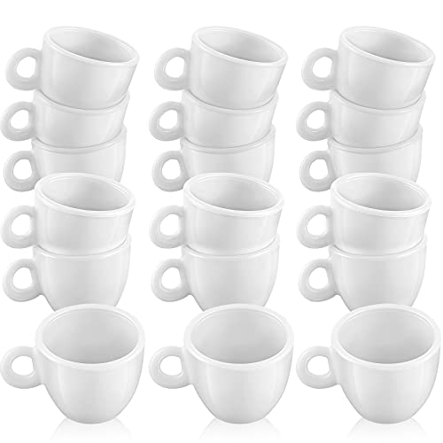 30 Pieces Mini Coffee Mugs Tea Cup White Plastic Coffee Cups Dollhouse Miniature Food Kitchen Room Decoration Accessories for Pretend Afternoon Tea Cake Decoration Landscape