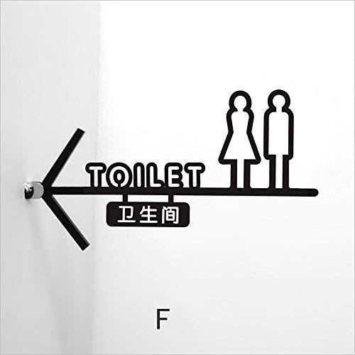 GWM Creative-House, Wanddekoration Schild, Beidseitige Männer und Frauen Badezimmer Schild WC Pfeil Schild WC-Führer Karte Seitliches Acryl Logo (Color : F)