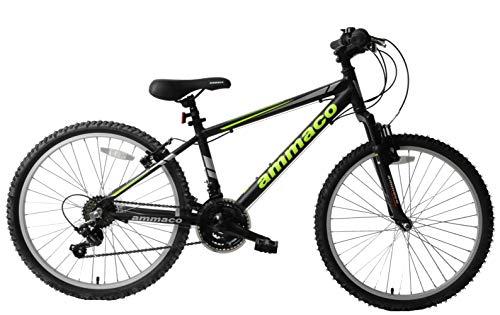 Ammaco Escape Boys Kids Bike 24' Wheel Lightweight Alloy Front Suspension Mountain Bike 14' Frame Black Green Age 8+