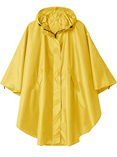 Hooded Rain Poncho Jacket with Pockets Yellow