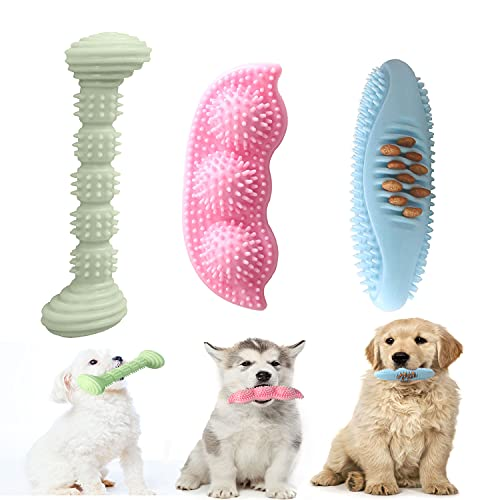 Decormax 3 Pack Dog Chew Toys for Puppy Teething 2-8 Months Puppies Teething Toys Soft & Durable Toothbrush for Small and Medium Dogs Cleaning Teeth and Protects Oral Health