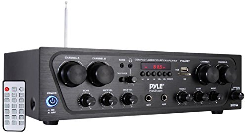 Pyle Wireless Karaoke Bluetooth Stereo Receiver - 4 Channel Power Amplifier w/ USB, Headphone, 2 Microphone Input w/ Echo, Talkover for PA Great for Home Speaker System - PTA42BT