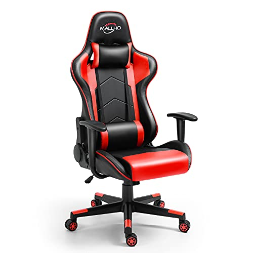 Polar Aurora Gaming Chair Racing Style High-Back PU Leather Office Chair Computer Desk Chair Executive Ergonomic Style Swivel Chair Headrest Lumbar Support/Red