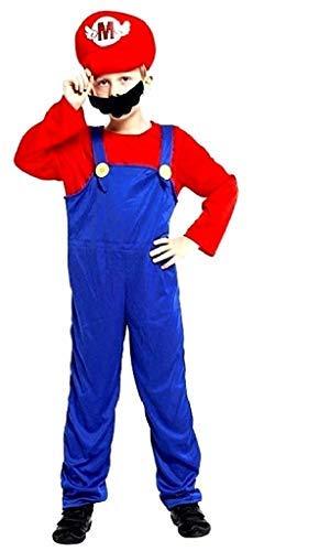 Vestido de carnaval de Super Mario Bros Celebre con personaje de videojuegos, incluye mono, gorro, bigote, idea de disfraz para nio, talla L, 6-7 aos, ideal como regalo de cumpleaos o Navidad