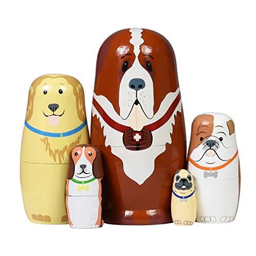 Nesting Dolls Russian Matryoshka Wood Stacking Nested Dog Set for Kids Handmade Toys for Children Kids Christmas Birthday Decoration Halloween Wishing Gift