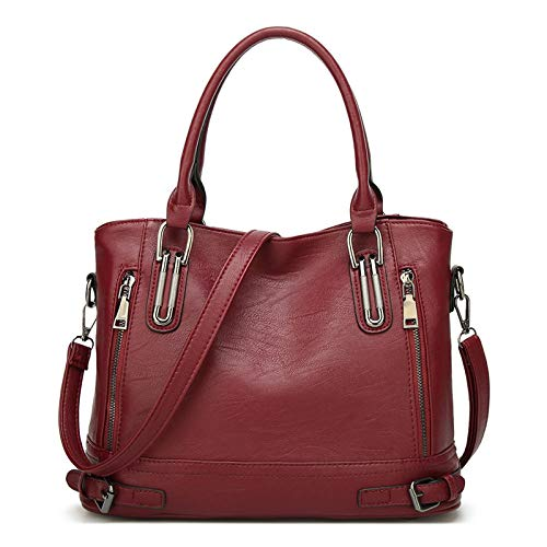 Bolso Bandolera Mujer Bolsos Mujer de Cuero PU Casual Bolso Shopper Bolso de Hombro Bolsa Tote Gran Capacidad,Borgoña