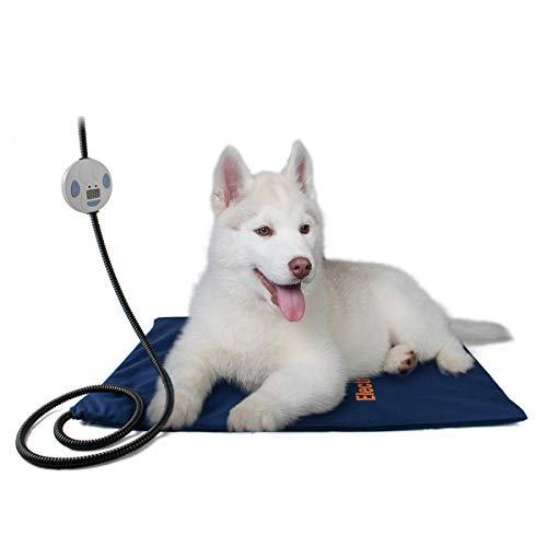 Namsan Heizkissen für Haustier Heizmatte für Hund Katze, Größe: 60x45cm, Anti-Bite-Schlauchwickel Kabel(200 cm), Hunde Heizdecke mit 7 Zahnräder der Temperatureinstellung