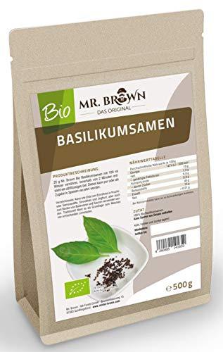 Mr. Brown BIO Basilikum Samen | kbA | Verwendung wie Chia Samen | abgefüllt in Bayern (500 GR)
