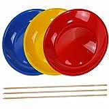 SchwabMarken 3 Platos Chinos con 3 Palo de Madera, 3 o 5 Platos Chinos con Palo de Madera o con Palo de plástico