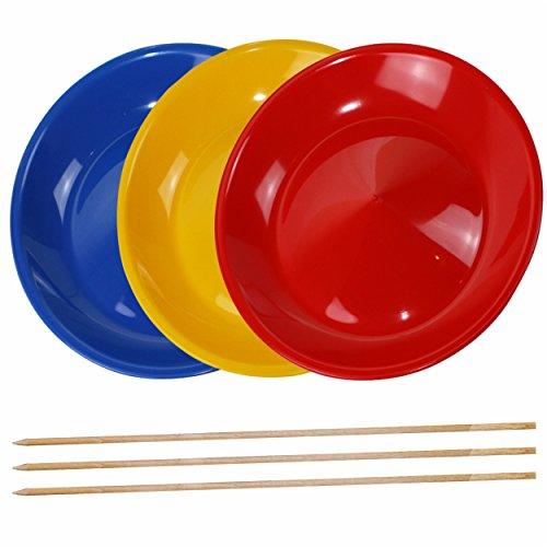 SchwabMarken 3 Jonglierteller mit 3 Holzstäben, 3 oder 5 Jonglierteller mit Kunststoff- oder Holzstäben