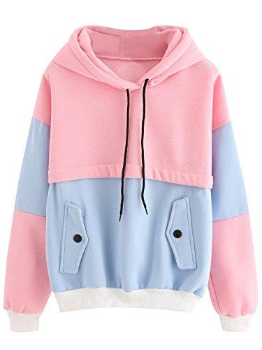 SweatyRocks Sweatshirt Women Colorblock Pullover Fleece Hoodie (Medium, Multicolor#1-Loose)
