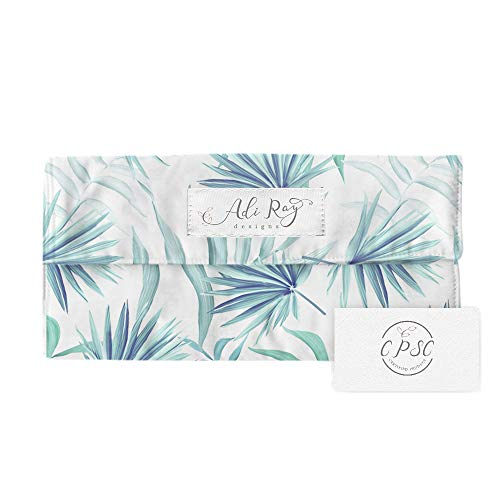 Designer Portable Changing Pad for Diaper Bag, Diaper Clutch with Changing Pad, CPSC Certified, Tropical Leaves